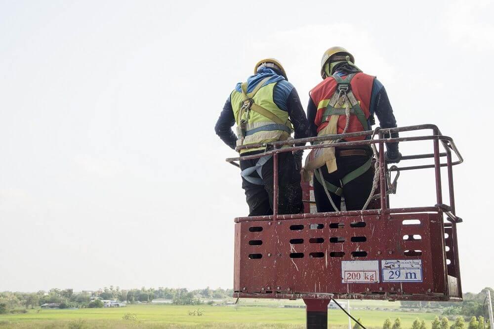 Persoonlijke valbeveiliging voor twee personen in hoogwerker